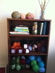 yarny goodness (Yarn.Pixie) Tags: colors crochet books yarn needles shelves hooks organizing iphone