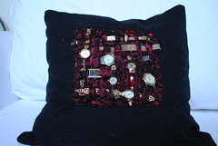 We have all the time in the world (2) (Magpies Laundry) Tags: art found time handmade objects pillow textile cushion blackwool redsilk wovencloth vintagewatches borocloth