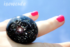 black and silver glitter dome ring by isewcute (isewcute) Tags: black glitter modern silver handmade newyear ring lolita kawaii statement glam resin whimsical shimmer 2012 adjustable fashionstatement blingy harajukustyle isewcute glittercrafts sparkleon castresinjewelry