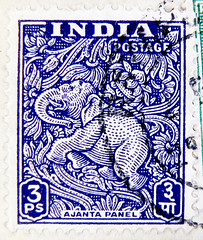 great stamp India 3 ps postage (Ajanta Panel Ajantha elephant fresco - Buddhism)       francobolli selo sello India     postzegel zegels India       znaczki Indie    frimerker India frimrken (stampolina) Tags: blue india 3 elephant postes stamps religion buddhism stamp indie blau elefant timbre mythology tem indien postage postzegel inde selo bolli sello sellos   hindistan briefmarken   pulu frimrken briefmarke  francobollo selos timbres frimrker  francobolli bollo postzegels   zegels  timbresposte  zegel znaczki markica    perangko frimerker  pullar timbru    n    pullari  postapulu  blyegek  antspaudai raztka