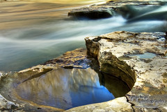 Reflections in the Past (radarbrat photography) Tags: pictures longexposure cliff sun water rock stone canon photography photo waterfall pretty photos indianapolis picture indiana falls le twig stick goldenhour millcreek cataractfalls liebersra radarbrat