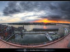 The river bend :: MAS :: Antwerp (Erroba) Tags: sunset sky clouds canon river mas belgium belgique harbour belgië sigma fisheye antwerp schelde erlend antwerpen anvers doel 10mm 60d museumaandestroom erroba robaye