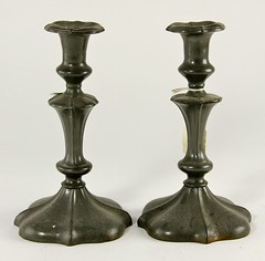 87. Early Pewter Candlesticks