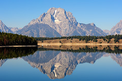 Jackson Lake (bhophotos) Tags: travel trees usa lake mountains reflection nature landscape geotagged nikon day bluesky clear wyoming nikkor tetons jacksonhole wy grandtetonnationalpark jacksonlake gtnp mtmoran 80200mmf28dnew d700 projectweather bruceoakley