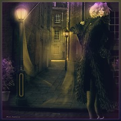 ~Lady Of The Night~ (Pam Astonia) Tags: lights evening streetlamp blondes secondlife specialeffects