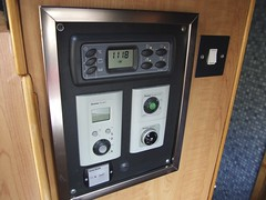 Digital control panel, water heater controls (mains and gas), gas level indicator (note: switch at bottom left now removed) (Mudman101) Tags: fiat motorhome ducato