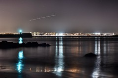 Aberdeen Beach (Ewan Rattray) Tags: longexposure beach water night stars nikon aeroplane aberdeen d7000