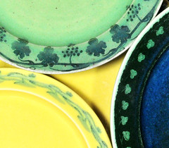 Ruskin plates (robmcrorie) Tags: blue green yellow ceramic design leaf birmingham crafts painted border decoration arts plate william pot taylor 1900 pottery souffle 1906 ruskin 1905 oldbury smethwick howson