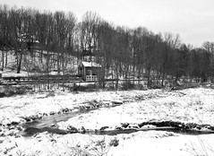 White with Black (brev99) Tags: winter blackandwhite white landscape stream sigma1770os photoshopelements9