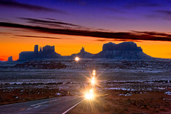 Leaving Monument Valley (mojo2u) Tags: sunset utah headlights navajo monumentvalley ushighway163 navajotriballand nikond700 milemarker13 nikon28300mm
