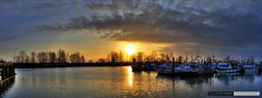 Paramount Sunset (Clayton Perry Photoworks) Tags: sunset panorama silhouette vancouver boats silhouettes richmond hdr steveston paramount