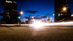 A view towards Burrard Bridge (Sia A) Tags: road street longexposure sunset cars night vancouver lowlight headlights burrardbridge january2012 effrabridgetovictory