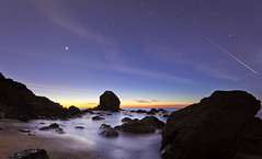 When Day Turns Into Night (ec808x) Tags: ocean sanfrancisco california longexposure nightphotography water stars landscape coast nikon rocks moonlight milerockbeach d700