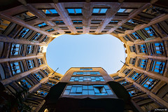 blue windows (picture 4B) Tags: barcelona city blue windows light sky sun reflection architecture town spain sony fisheye gaudi architektur spiegelung spanien casamila a77 katalonien club16 sonya77