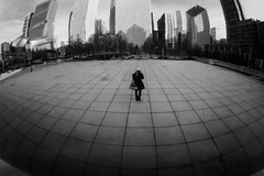 Chi-Town (Dar.shelle) Tags: park portrait white chicago black reflection canon buildings landscape person mirror warm alone stevens millenium bean 7d lonely darshelle