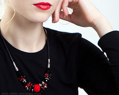 Statement Necklace in Scarlet Red and Black with Handmade Felt (<vaida>) Tags: red modern felted scarlet necklace jewelry felt passionate vart filtz