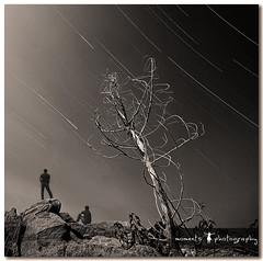 on a scientific expedition.. (PNike (Prashanth Naik..back after ages)) Tags: longexposure sky india tree night stars lights nikon rocks asia earth trails rotation hyderabad startrail himayatsagar d7000 pnike