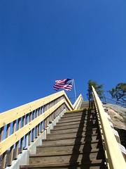 Last steps up (gaila3) Tags: trees mountain lake mountains water river nc rocks flag americanflag chimneyrock lakelure chimneyrockstatepark