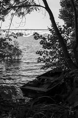Lngholmen (P. Burtu) Tags: city bridge summer tree water boat blackwhite peace sweden stockholm stan sverige bro quite vatten stad bt trd sommar mlaren vsterbron svartvitt