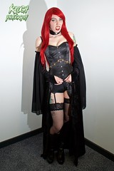 IMG_0237 (Neil Keogh Photography) Tags: blue red orange black green stockings leather female chains comic highheels boots knickers lace vampire esmee wig corset graphicnovel shorts cosplayer suspenders fangs choker caper suspenderbelt stockingssuspenders indiecomic borderfx highheeledbootstattoos salfordcomiccon2016