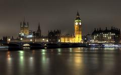 Westminster reflections (Gnome Girl!) Tags: longexposure bridge england london clock thames night reflections cityscape bigben hdr thamesriver westminsterbridgen