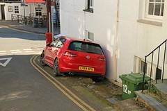 Behind Enemy Lines (RoystonVasey) Tags: morning red sea lines yellow misty wales vw canon golf volkswagen eos zoom parking double m gtd 1855mm stm snowdonia fret later aberdovey brighter aber snp dyfi