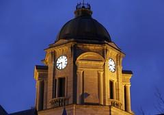Clock Tower (Sky Solar) Tags: city blue urban tower history clock tourism architecture buildings cityscape nightlights waterfront quebec postoffice arts landmarks nightfall