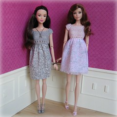 Floral dresses (Karine'S HCF (Handmade Clothing & Furniture)) Tags: pink party summer scale floral ginger spring knitting long dress tea handmade barbie rosa short 16 kayla handknitted escala raquelle