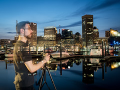 Ephemeral Photographer (rclatter) Tags: longexposure water night harbor photographer olympus baltimore em5mkii voigtlander175095