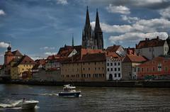 Regensburg_2 (dannicamra) Tags: city sky building water skyline clouds river germany bayern bavaria boat nikon cathedral dom wolken stadt fluss regensburg altstadt gebude danube donau d5100