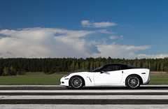 Airfield. (Slav_Shot) Tags: white chevrolet car nikon shot muscle wheels profile poland automotive exotic chevy american shooting corvette supercar torun c6 airfield zr1 2016 slavshot