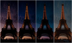 Eiffel Tower (Gigi) Tags: sunset paris france collage canon atardecer eos rebel europa europe ledefrance eiffeltower toureiffel torreeiffel puestadesol francia ocaso 500d isladefrancia efs1855mmf3556is t1i