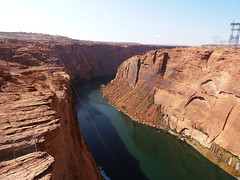 Colorado River in the Glen Canyon (traveling peter) Tags: shadow red arizona usa brown green water america river outdoors colorado rocks desert az canyon september page coloradoriver layers powerline slope glencanyon 2011 arizonapassages year2011