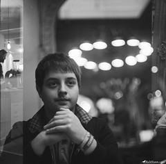 Hey it's KP! (Rick Nunn) Tags: portrait london film coffee lights exposure fuji notes iso400 mirro photojournalism rick double 400 neopan pentacon nunn overlap
