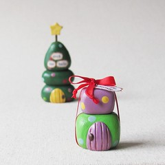 Wee Whimsical Holiday Village (humbleBea) Tags: christmas houses winter sculpture house holiday tree art home woodland miniature december village ooak waldorf decoration january polymerclay gift present collectible etsy artdoll february whimsical humblebea beaswees