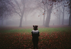 Tell me what is coming for me. (Noukka Signe) Tags: trees mist cold nature girl hat leaves weather fog mouse memories vague signe noukka