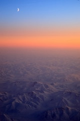 Siberia : Bird View in a flight (HL's Photo) Tags: sky cloud moon mountain snow mountains nature sunrise landscape dawn natural outdoor scenic arctic siberia birdview   arcticview