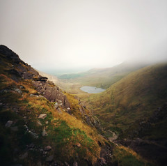 after ascending the devil's ladder (manyfires) Tags: ireland mist film fog square landscape golden lough hiking eire pinhole zero2000 zeroimage countykerry carrauntoohil devilsladder