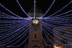 Clocktower Christmas Lights (Di's Free Range Fotos) Tags: christmas street xmas city uk england tower clock festive lights sussex brighton december spiders web north clocktower east 2011 spidery