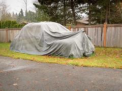 Mercedes in the Hiding? (Chicken) Tags: urban usa classic car mercedes washington covered transportation oldtimer kirkland rosehill tarp