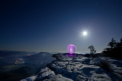 Adventure Photography - Light Painted Orb on Mcafees Knob (curtisWarwick) Tags: light moon painting photography spin orb hike full adventure trail moonlight rise knob apalachian mcafees at dpslongexposure