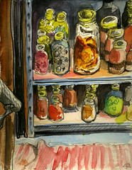 Marie's Pantry (Marcia Milner-Brage) Tags: stilllife fruits vegetables pencil ink watercolor brushpen cannedgoods