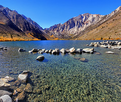 Convict Lake vertical Panorama (Dave Toussaint (www.photographersnature.com)) Tags: california ca travel portrait sky panorama usa lake mountains nature water northerncalifornia rock vertical photoshop canon landscape photo interestingness interesting october day skies photographer stitch cs2 ngc picture panoramic boulder sierra clear explore adobe geology hwy395 eastern merge 395 easternsierras highway395 convictlake 2011 autopanopro the4elements 60d topazlabs topazadjust topazdenoise photographersnaturecom davetoussaint