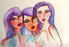 3 is a party (cari barbachano) Tags: art girl illustration watercolor watercolour cari acuarelas barbachano
