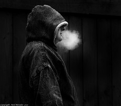 Secret Smoker. (Neil. Moralee) Tags: life street bw cloud white hoodie cigarette secret smoke puff burn hoody hood smoker gasp balak cough neilmoralee