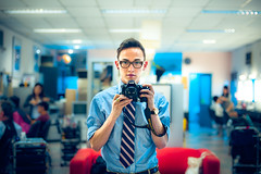 5,000,000 Hits: A Self Portrait and a Coward's Photography (TGKW) Tags: camera boy portrait people man reflection self glasses mirror tv big nikon singapore photographer shot bokeh room makeup tie tommy dressing wan studios mediacorp 9035 gaken tgkw