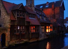 The old wooden house - Bruges Christmas time. (jackfre2 (on a trip-voyage-reis-reise)) Tags: wood blue windows water reflections lights canal niceshot belgium brugge christmastree bruges bluehour woodenhouse flanders mygearandme flickrstruereflection1