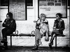 Waiting - London Session 2010 (Strlicfurln) Tags: street uk morning costumes party people bw london halloween drunk contrast mask burn wait 2010 attesa