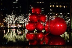giant honking ornaments (philliefan99) Tags: christmas newyorkcity reflection water fountain holidays manhattan balls midtown gothamist gotham exxonbuilding 1251avenueoftheamericas giantchristmasornaments