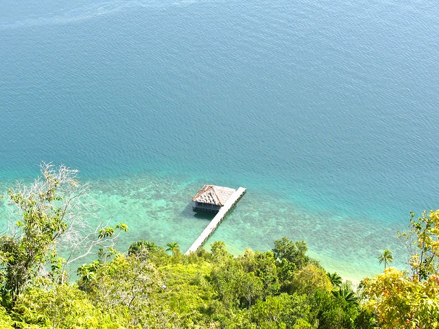 View of the only overwater cottage from mountain hike behind the resort.